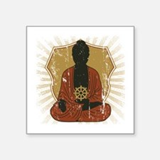 Buddha Meditating With Dharma Wheel Square Sticker