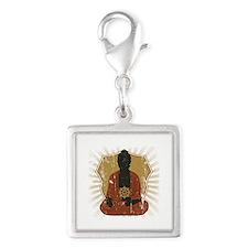 Buddha Meditating With Dharma Wheel Silver Square