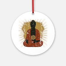 Buddha Meditating With Dharma Wheel Ornament (Roun