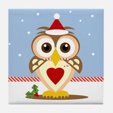 Santa Holiday Owl Tile Coaster