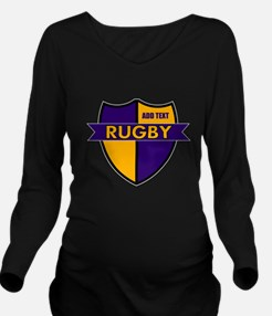 Rugby Shield Purple Gold Long Sleeve Maternity T-S