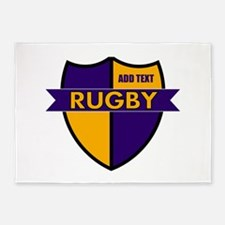 Rugby Shield Purple Gold 5'x7'Area Rug