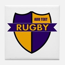 Rugby Shield Purple Gold Tile Coaster