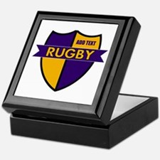 Rugby Shield Purple Gold Keepsake Box
