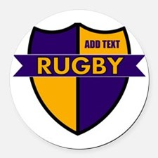 Rugby Shield Purple Gold Round Car Magnet