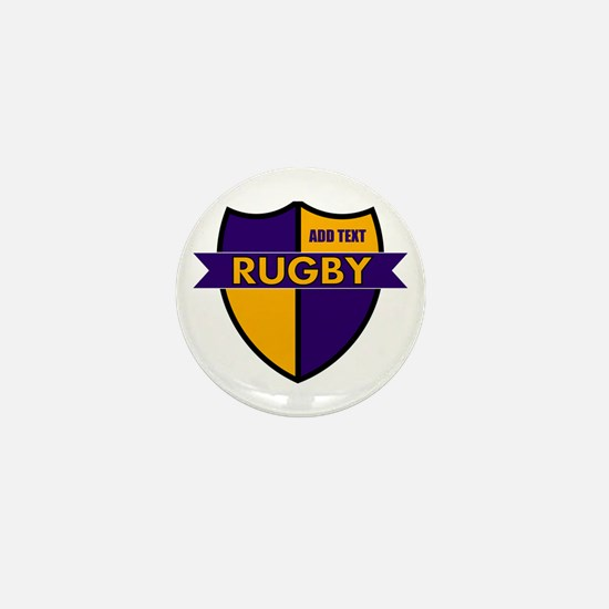 Rugby Shield Purple Gold Mini Button