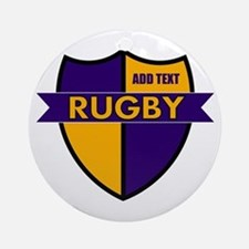 Rugby Shield Purple Gold Ornament (Round)