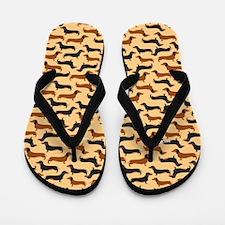 Dachshund Gold Flip Flops