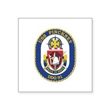 "USS Pinckney (DDG-91) Square Sticker 3"" x 3"""