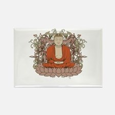 Buddha on Lotus Flower Rectangle Magnet