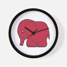 Funny cross-stitch red elephant Wall Clock