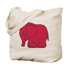Funny cross-stitch red elephant Tote Bag