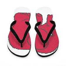 Funny cross-stitch red elephant Flip Flops