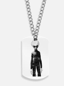 Skinny Bob Grey Alien Dog Tags