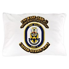 USS Wasp (LHD-1) With text Pillow Case