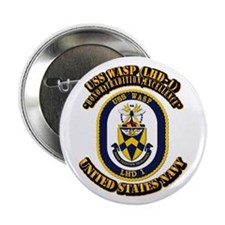 """USS Wasp (LHD-1) With text 2.25"""" Button (10 pack)"""