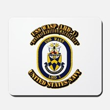 USS Wasp (LHD-1) With text Mousepad