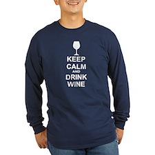 Keep Calm and Drink Wine Long Sleeve T-Shirt