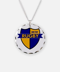 Rugby Shield Blue Gold Necklace