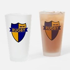 Rugby Shield Blue Gold Drinking Glass