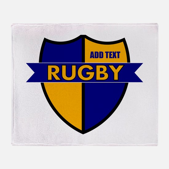 Rugby Shield Blue Gold Throw Blanket