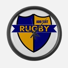 Rugby Shield Blue Gold Large Wall Clock