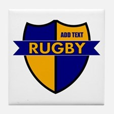Rugby Shield Blue Gold Tile Coaster