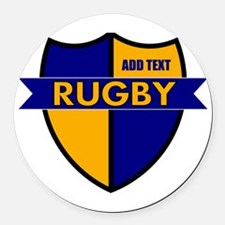 Rugby Shield Blue Gold Round Car Magnet