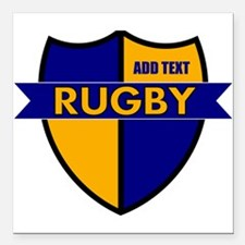 """Rugby Shield Blue Gold Square Car Magnet 3"""" x 3"""""""