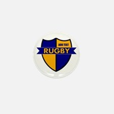 Rugby Shield Blue Gold Mini Button (10 pack)