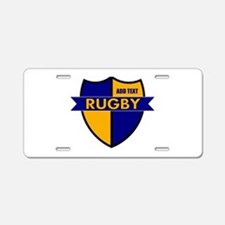Rugby Shield Blue Gold Aluminum License Plate