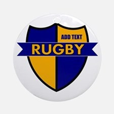 Rugby Shield Blue Gold Ornament (Round)