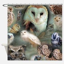 Happy Owls Shower Curtain