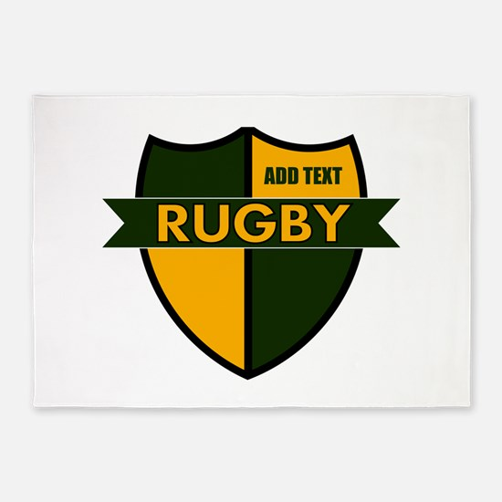 Rugby Shield Green Gold 5'x7'Area Rug
