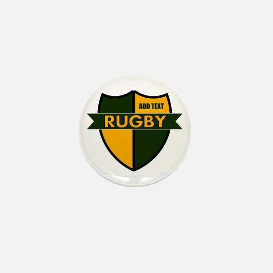 Rugby Shield Green Gold Mini Button