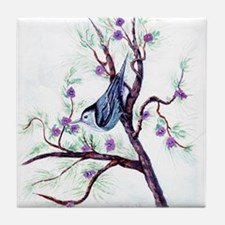 Nuthatch on a Branch Tile Coaster