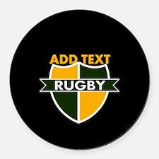 Rugby Crest Green Gold BlkPz Round Car Magnet