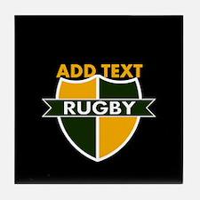 Rugby Crest Green Gold BlkPz Tile Coaster