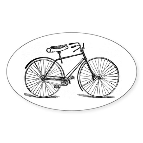 VINTAGE BICYCLE Oval Sticker