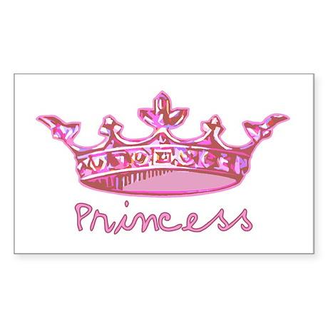 Pink Princess Crown Rectangle Sticker