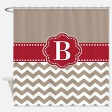 Taupe Red Chevron Personalized Shower Curtain