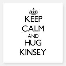 "Keep Calm and HUG Kinsey Square Car Magnet 3"" x 3"""