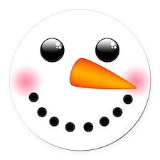 Snowman Face Round Car Magnet