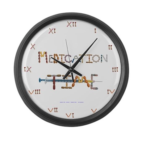 Medication Time White Large Wall Clock By Crazymeds