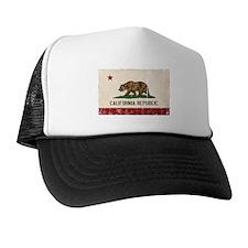 California Flag Distressed Trucker Hat