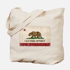 California Flag Distressed Tote Bag