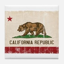 California Flag Distressed Tile Coaster