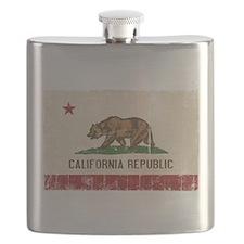 California Flag Distressed Flask