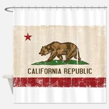 California Flag Distressed Shower Curtain