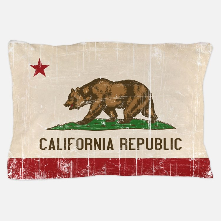 California Flag Distressed Pillow Case